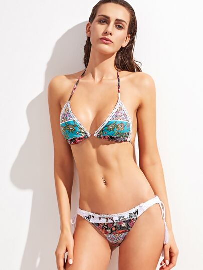 Collection de bikini imprimé avec frange - multicolore