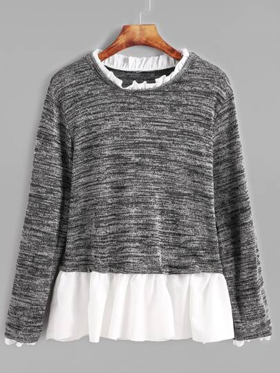 Dark Grey Contrast Ruffle Trim T-shirt