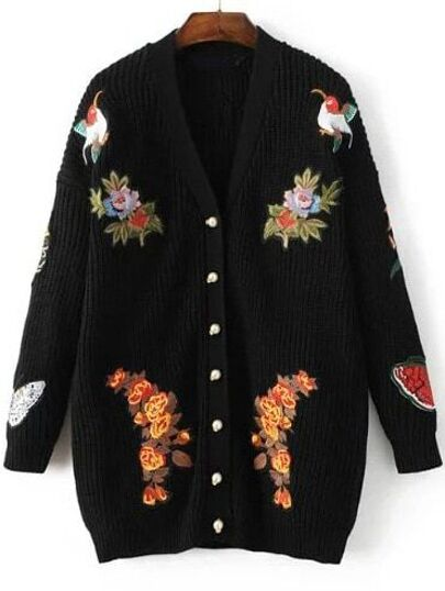 Black Tiger Embroidery Button Up Sweater Coat