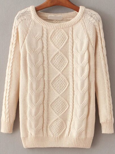 Beige Cable Knit Raglan Sleeve Sweater