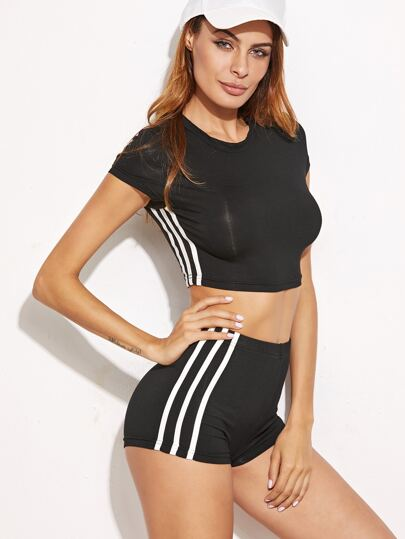 Black Striped Side Crop T-shirt With Shorts