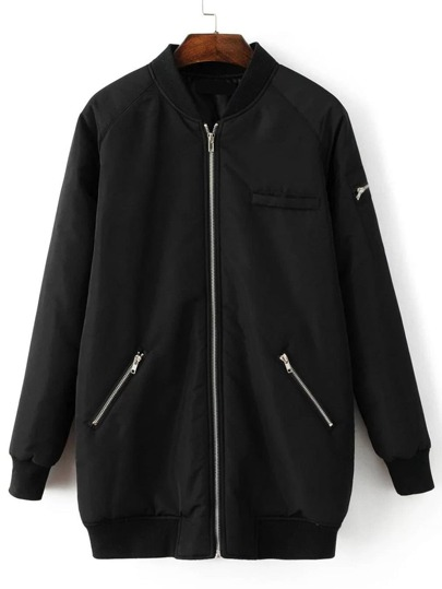 Black Raglan Sleeve Zipper Pocket Long Baseball Jacket