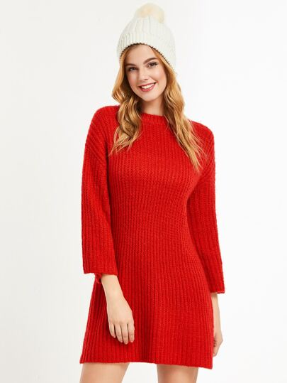 Shift Pullover Kleid Drop Schulter-rot