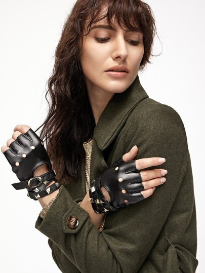Black Open-Toe Buckled Strap Stud PU Gloves