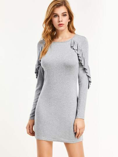 Heather Grey Ruffle Trim Bodycon Dress