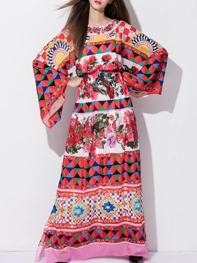 Multicolor Elastic-Waist Print Maxi Dress