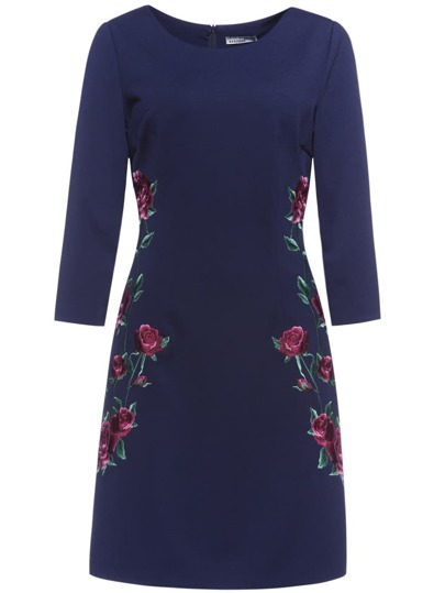 Navy Flowers Embroidered Sheath Dress