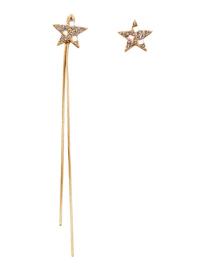 Gold Plated Star Rhinestone Long Chain Asymmetrical Earrings