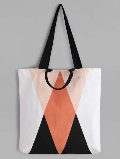 Minimalistische Leinwand-Einkaufstasche Geometrische Muster