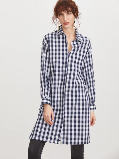 Navy And White Gingham Button Up Longline Blouse