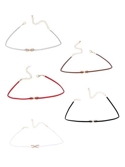 Multicolor Infinity Symbol Skinny Choker Necklace Set