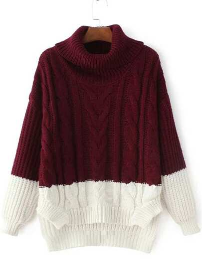 Color Block Cable Knit Turtleneck High Low Sweater