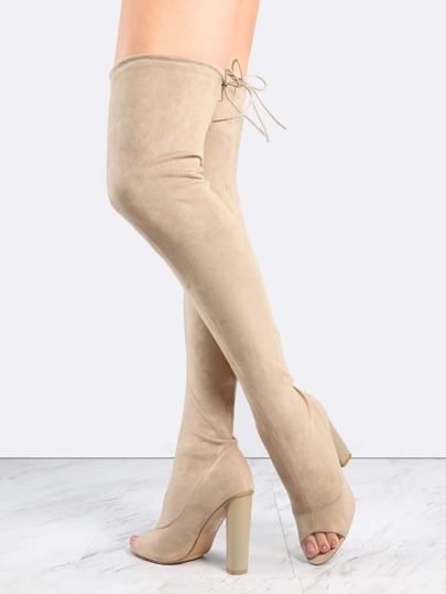 Nude Suede Peep Toe Chunky Heel Over The Knee Boots