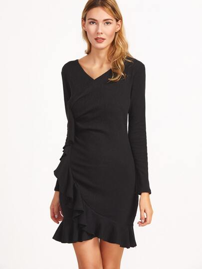 Black V Neck Ruffle Trim Wrap Dress