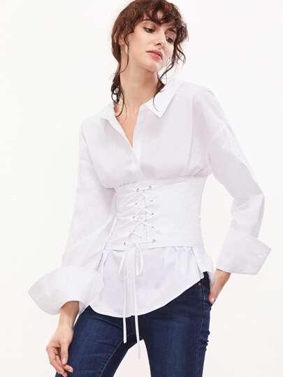 Chemisier à lacets au dos avec ceinture -blanc
