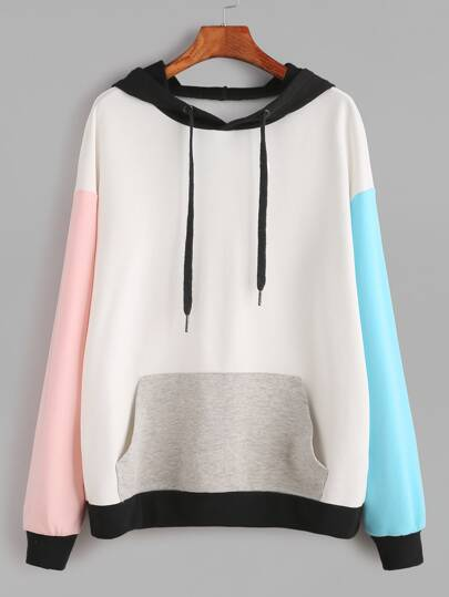 Drop Shoulder Pocket Front Hooded Sweatshirt