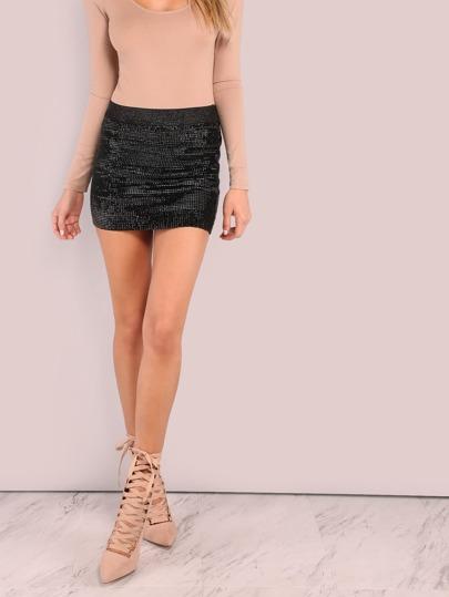 Mini Coil Shine Skirt BLACK