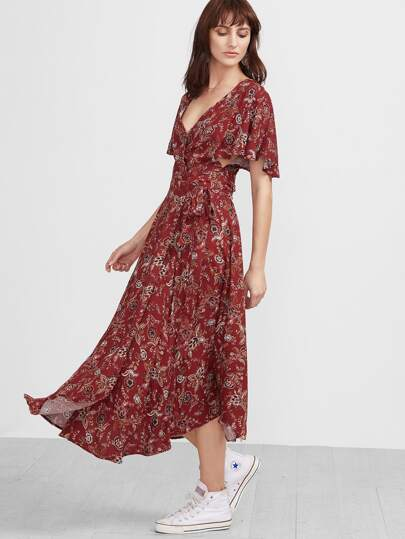 Red Florals V Neck Vintage Maxi Dress