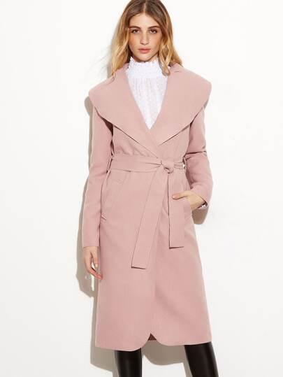 Розовое модное пальто с шалевым воротником