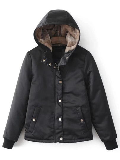 Black Hidden Zip Hooded Padded Jacket