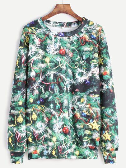 Green Christmas Tree Print Sweatshirt