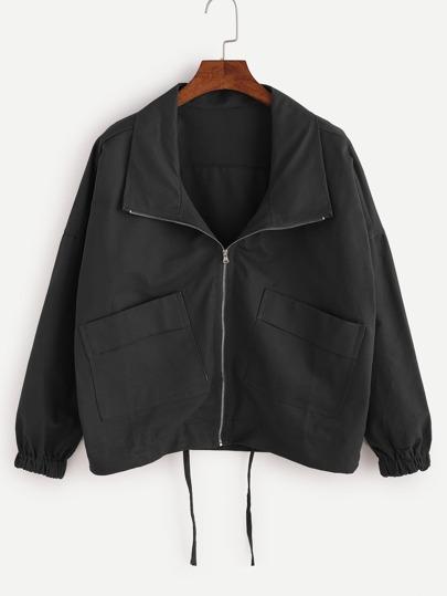 Mantel mit Tunnelzug Saum Drop Schulter-schwarz