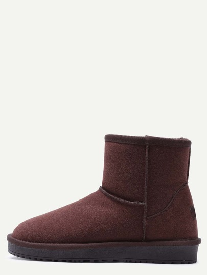 Dark Brwon Suede Fur Lined Flat Snow Boots