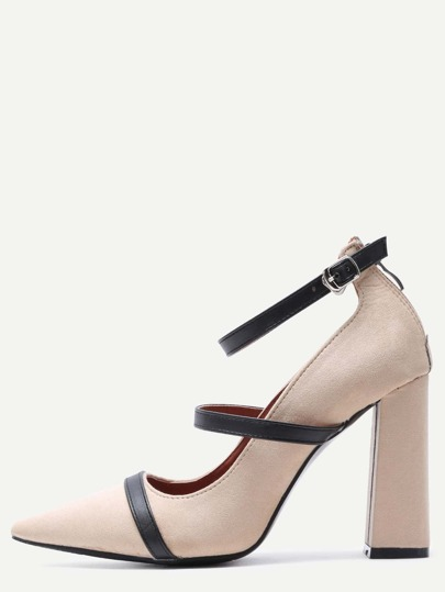 Apricot Point Toe Ankle Strap Suede Mary Jane Pumps