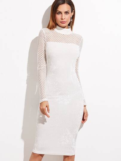 White Eyelet Mesh Sleeve Velvet Pencil Dress