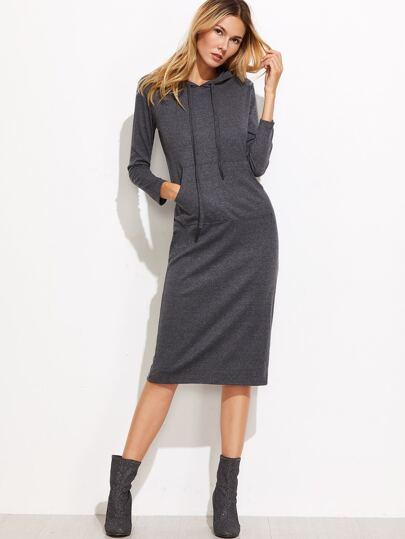 Dark Grey Drawstring Hooded Split Back Sweatshirt Dress