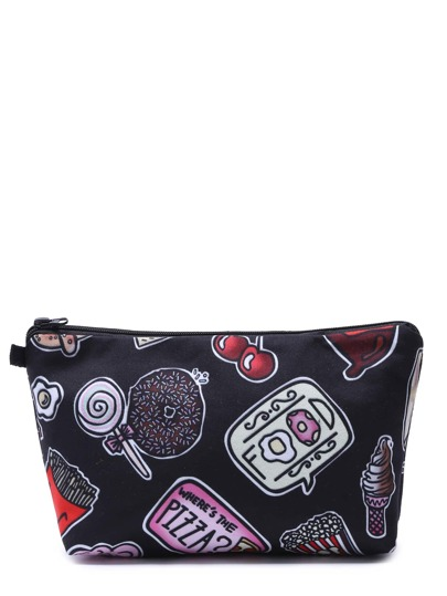 Black Cartoon Print Portable Cosmetic Makeup Bag