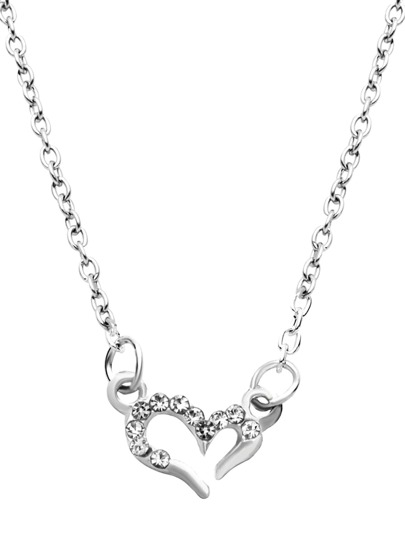 Silver Plated Hollow Heart Rhinestone Pendant Necklace