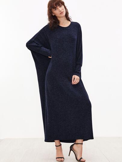 Navy Batwing Sleeve Loose Maxi Dress