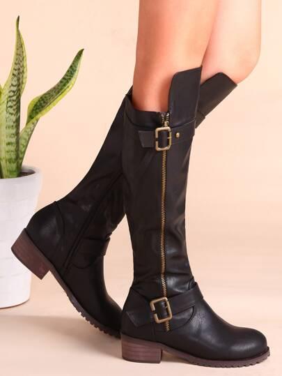 Black PU Buckled Strap Side Zipper Knee Boots
