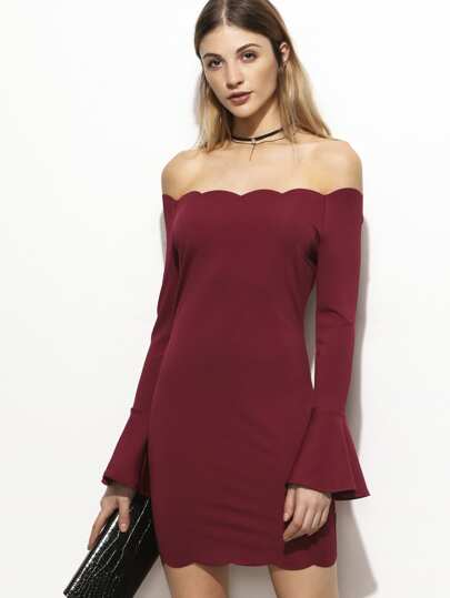 Burgundy Scallop Edge Bell Cuff Off The Shoulder Dress