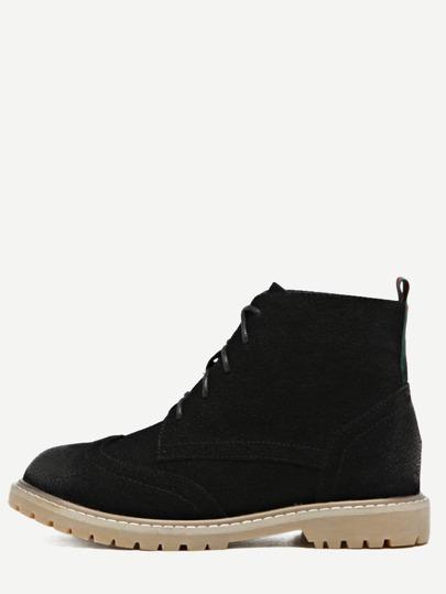 أسود Nubuck جلد أحذية ربط الحذاء حتى قمة الجناح