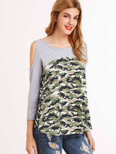 Olive Green Camo Print Contrast Yoke Open Shoulder T-shirt