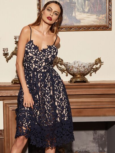 Navy Embroidered Lace Overlay Cami Dress