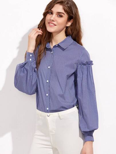 Blue And White Striped Frill Trim Bishop Sleeve Blouse