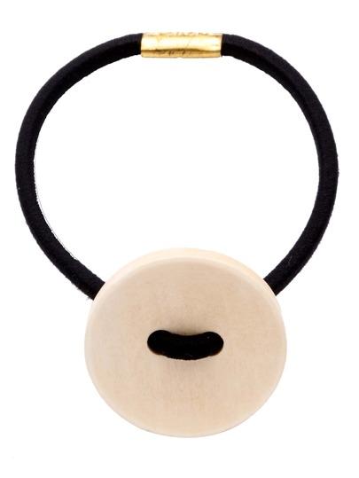 Beige Wooden Button Cute Hair Tie