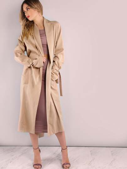Khaki Belted Cuff And Back Duster Coat