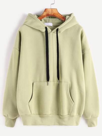 Mustard Hooded Drop Shoulder Pocket Sweatshirt