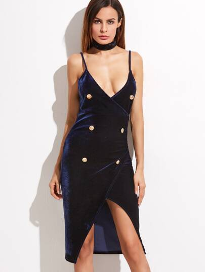 Navy Double Breasted Velvet Wrap Cami Dress