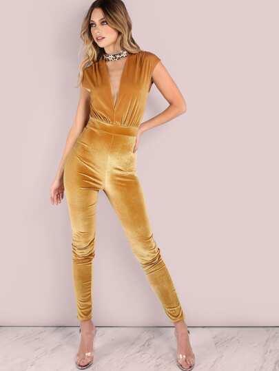 Velvet Plunge Jumpsuit GOLD
