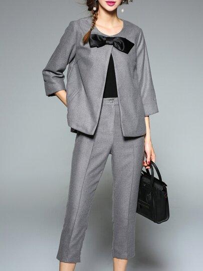 gespalten Top mit Hosen-grau