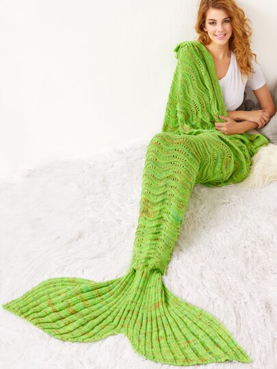 Green Crocheted Moire Hollow Out Mermaid Blanket