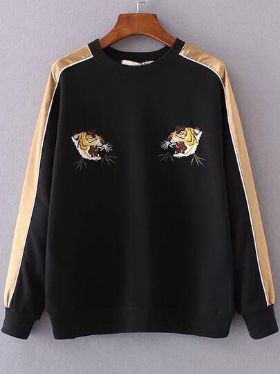 Black Color Block Tiger Embroidery Sweatshirt