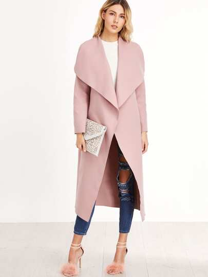 Drape Collar Open Front Coat
