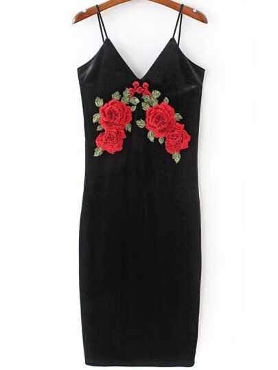 Robe velours brodé floral -noir