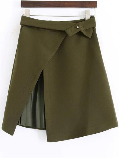 Army Green Pleated Detail Asymmetrical Skirt